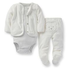 "Carter's Neutral 3 Piece Ivory Striped Short Sleeve Bodysuit, Terry Cardigan, Footed Pant with Bear Applique Set - Carters - Babies ""R"" Us"