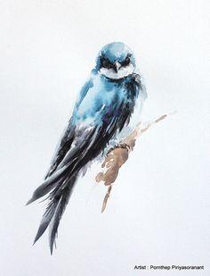 Martin Bird acuarela de pájaro pintura acuarela por OrientalArt2029