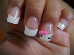 CUTE! french hello kitty mani. Would be cute on my daughter's natural nail