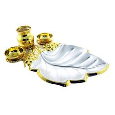 Jpearls Silver Pipal Leaf Puja Thali accompanied with small Kalash and 2 katories