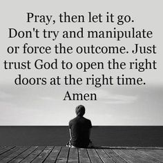 """Pray, then let it go. Don't try to and manipulate or force the outcome. Just trust God to open the right doors at the right time. Amen."""