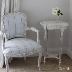 French Louis Chair I upholstered and side table I painted and antiqued with dark wax