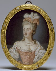 Miniature of Marie Antoinette, c.1778. This miniature may be copied from a now-lost portrait of Marie-Antoinette by Anne Vallayer-Coster, who was one of the queen's favorite artists. Vallayer-Coster was celebrated for her still lifes, but she received several important portrait commissions from the royal family, perhaps due to the favour shown her by Marie-Antoinette.