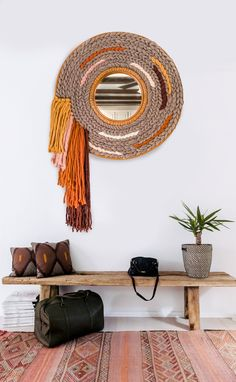 Hand Woven Rattan Mirror, woven using roving, rope and different wools. You can now order a custom color option in … Diy Wall Decor, Boho Decor, Bedroom Decor, Diy Crafts To Sell, Home Crafts, Decoration Christmas, Boho Wall Hanging, Mirror Hanging, Creation Deco