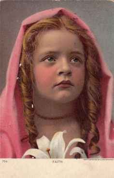 Vintage Young girl hand tinted photo