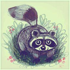 Oh so cute raccoon!