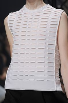 White top with knitted tube textures; fashion details // Maison Rabih Kayrouz