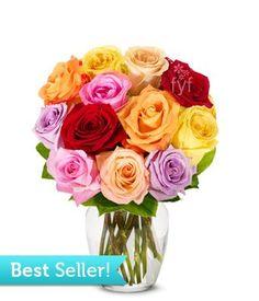 One Dozen Rainbow Roses (FREE Vase Included) - Flowers $34.99