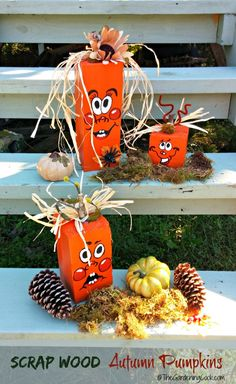 These DIY scrap wood pumpkins are easy to make, a lot of fun and add some great seasonal curb appeal to your front step. See my site for the tutorial as well as the free pumpkin face printable.