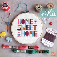 Funny Cross Stitch KIT - Geometric Home Sweet Home Cross Stitch KIT- Colorful happy typographic Christmas Xmas gift