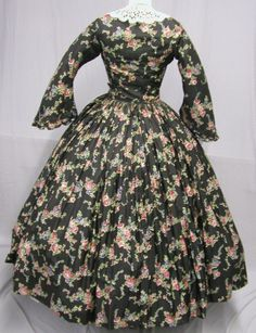 1053 1860's Printed Cotton Daytime Ensemble | eBay
