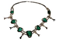 Navajo Malachite Squash Blossom Necklace