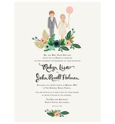 rifle paper co illustrated wedding invite... love the floral swag!
