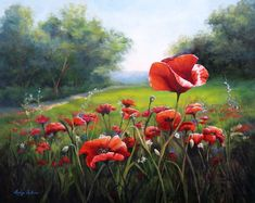 Lucy Dickens Fine Art -Oil painting of poppy field in Tuscany Italy, part of a series. Watercolor Landscape, Landscape Paintings, Eagle Art, Cottage Art, Happy Paintings, Pictures To Paint, Art Oil, Painting Inspiration, Flower Art