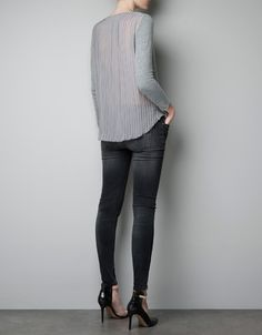 Sweater with pleated chiffon back