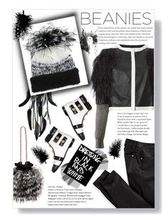 """""""Winter Bird"""" by mmk2k ❤ liked on Polyvore featuring Moschino, Aviù, WALL, Maje, Eugenia Kim, Matthew Williamson, Winter, hat, beanies and pompom"""