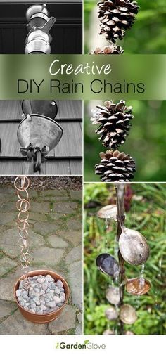 (link) DIY RAIN CHAINS ~ Rain chains are perfect instruments for harnessing the elements of nature in the garden, so that they can be appreciated. Using a rain chain anywhere in the garden adds a decorative element, and who doesn't love the sight and sound of water in the garden? However, they can be expensive and hard to find. We decided to go out and find some DIY rain chain projects and tutorials for you just in time for spring rains!  So let's get to garden crafting!