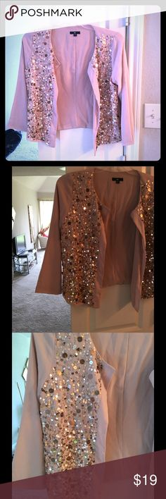 Gap sequin jacket Like new condition . Gorgeous blush color . GAP Tops
