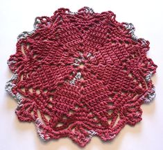 Not Your Grandma's Doily – Radical Red Suede Crochet Doily – Free Pattern – Scribble & Stitch Crochet Doily Rug, Free Crochet Doily Patterns, Basic Crochet Stitches, Crochet Chart, Crochet Basics, Crochet Gifts, Crochet Hooks, Free Pattern, Crocheted Jellyfish