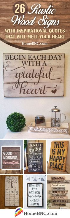 Rustic Wood Sign Decor Ideas with Inspirational Quote. Rustic Wood Sign Decor Ideas with Inspirational Quote. Rustic Wood Signs, Wooden Signs, Rustic Decor, Rustic Bench, Rustic Cake, Rustic Shelves, Rustic Theme, Painted Signs, Wood Burning Stencils