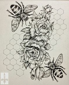 Pencil Art Drawings, Drawing Sketches, Tattoo Drawings, Doodle Inspiration, Honeycomb Tattoo, Kunst Tattoos, Piercing Tattoo, Piercings, Bee Art