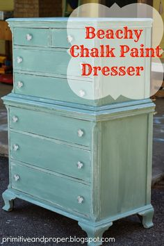 Primitive & Proper: Beachy Blue Chest; painted with duck egg chalk paint over white for a coastal feel, crystal knobs, lightly distressed