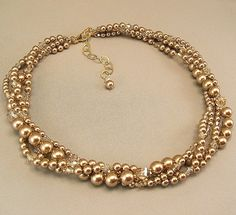 Bronze Swarovski Pearl   Four Strand Torsade Necklace by Handwired, $103.00