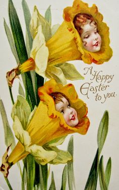 postcardiva postcard blog: Nister FANTASY GIRL FLOWERS EASTER Postcards