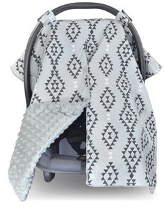 Aztec Car Seat Canopy with Grey Dot Minky and Peekaboo Opening™