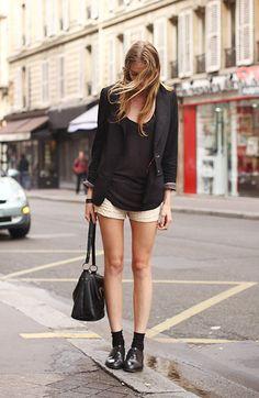 Black Blazer, Lace Shorts