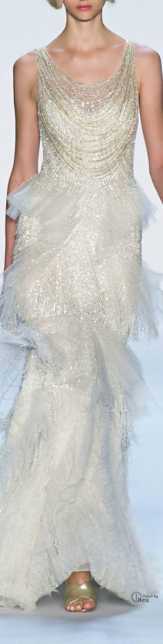 Non white wedding gown. Touch of vintage but still modern. Badgley Mischka ● SS 2014