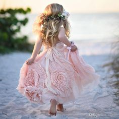 Custom Made Cheap Pink Flower Girls Dresses For Wedding 2016 Lace Applique Ruffles Kids Formal Wear Sleeveless Long Beach Girls Pageant Gown 2018 from aangel, $68.59 | DHgate Mobile