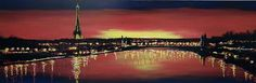 Paris Glow - Original by Paul Kenton  Available Now from Westover Gallery £3950. 60 x 180cm