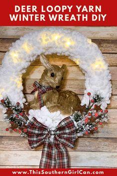 Christmas Yarn Wreaths, Christmas Signs, Christmas Crafts, Winter Wreaths, Spring Wreaths, Summer Wreath, Christmas Ornaments, Wreath Fall, Prim Christmas