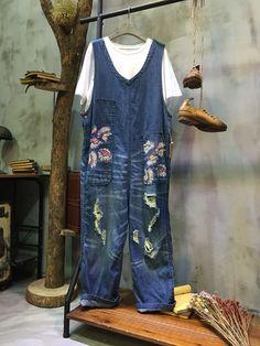New Arrival V-Neck Flowers Print Denim Overalls Korean Ripped Jeans    #Korean #blue #denim #ripped #flowers #print #jeans #overalls #ootd #youthful
