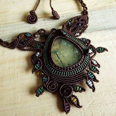 Macrame Necklace Pendant Cabochon Prenite Stone Cotton Waxed Cord Handmade…