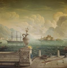Detail from the mural by Rex Whistler, painted in 1936, showing Neptune's trident and the harbour beyond at Plas Newydd, Anglesey, Wales