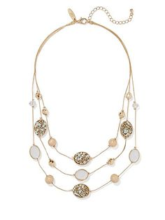 Faux-Pearl Layered Illusion Necklace  - New York & Company