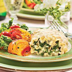 Make-Ahead Quick-Fix Casseroles | Spinach Lasagna Rollups | SouthernLiving.com