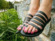 be5059168ef8fc Black Leather Sandals with Beautiful Straps