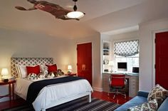 red and blue and so cute with all the dogs on the bed for a boy room...red doors