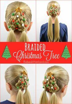 Braided Christmas Tree Hairstyle