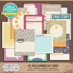 LIP: Hello Summer 3x4 Journal & Filler Cards - Summer, Vacation. Travel Themed Pocket Cards perfect for Project Life from www.peppermintcreative.com #printable #pocketcards