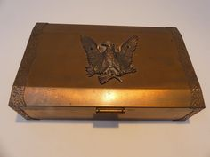 Vintage Copper Bronze Jewelry Box Retro Japan