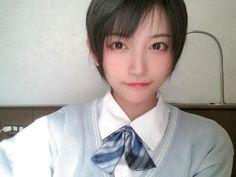 帅嘤嘤 制服 Beautiful Japanese Girl, Beautiful Asian Girls, Girl Short Hair, Short Girls, Korean Short Hair, School Girl Japan, Female Reference, Asian Cute, Girl Hairstyles