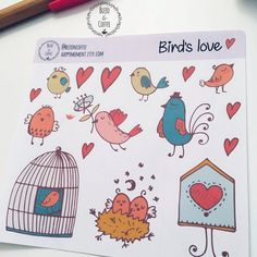 valentinesday bullet journal Excited to share this item from my shop: Birds in love stickers Journal Stickers, Printable Planner Stickers, Scrapbook Stickers, Love Stickers, Diy Stickers, Custom Sticky Notes, Planner Supplies, Personalized Stickers, Sticker Paper