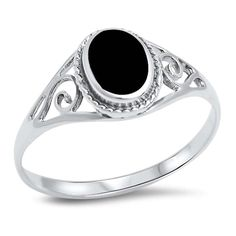 Oval Filigree Swirl Ring Fashion Trendy Oval Simulated Black Onyx 925 Sterling Silver