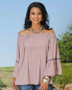 Love! R Cinco Ranch Women's Dusty Rose Beeville Tunic With Bell Sleeves