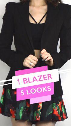 1 Blazer preto e 5 looks de como usar essa mesma peça que é super coringa para ter no seu guarda-roupa! Estilo Fashion, Ideias Fashion, Photo And Video, Casual, Jackets, 1, Outfits, Instagram, Videos