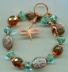 "Aqua, Lustered Amber, and Silver Picasso Mauve Embossed Czech Glass Beads with Solid Copper -- 8.5"" Bracelet"
